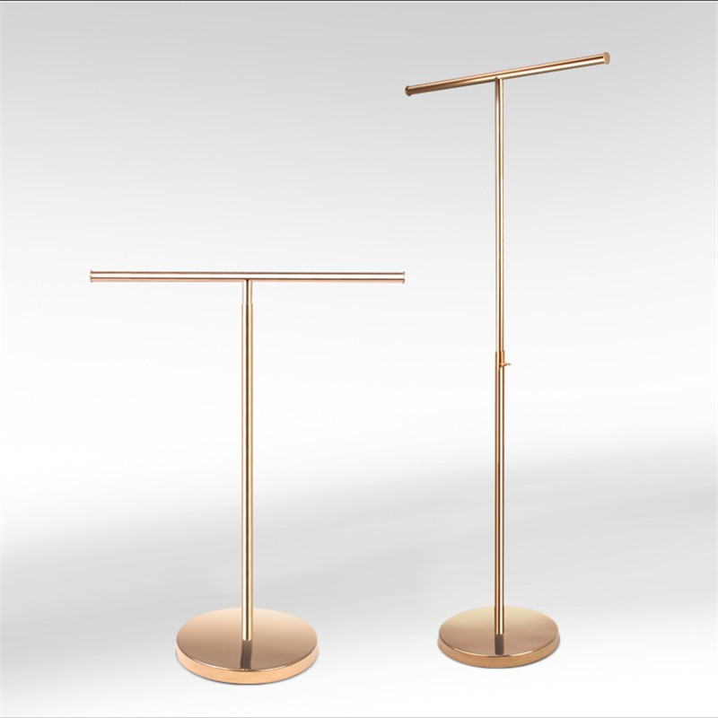 Polished Rose Gold T-bar Handbag Display Stand