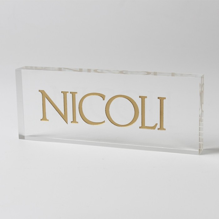 custom acrylic engraved logo block