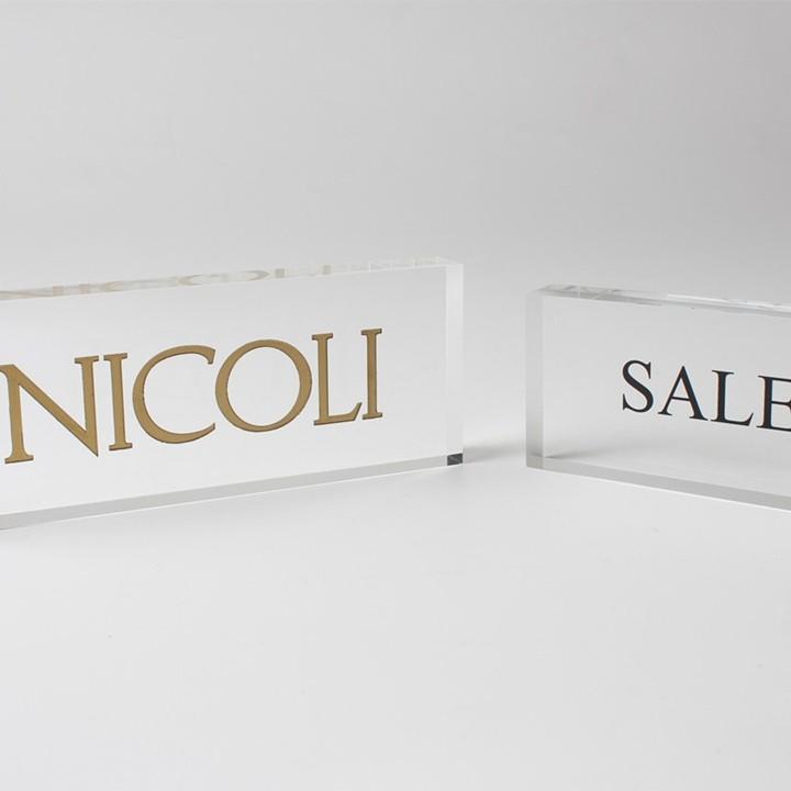 Custom acrylic engraved logo block