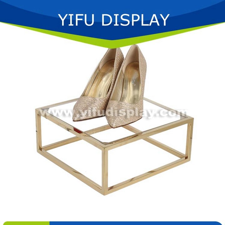 Metal Polished Gold Shoe Shelf