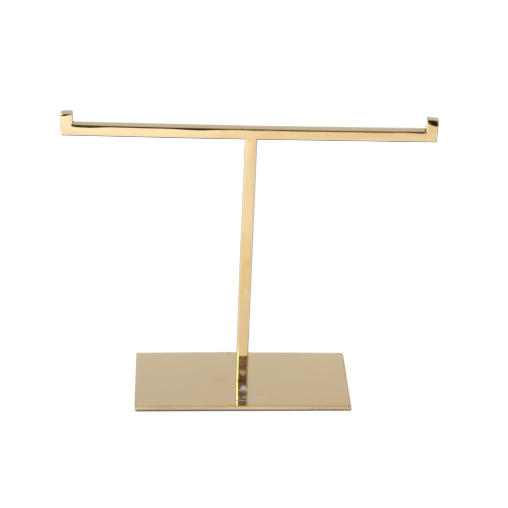 Polished Gold Metal T-bar Jewelry Display Stand