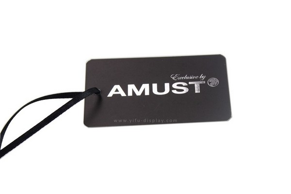 Black with shinny silver Paper Hang tag HT006 manufacturers